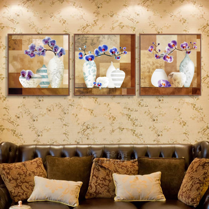 Wood framed painting decorative painting modern minimalist living room dining triple sofa wall paintings abstract paintings phalaenopsis