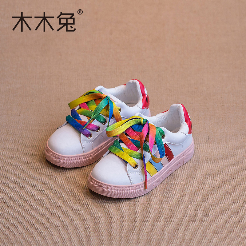 Wood rabbit children's rainbow small white shoes candy colored shoes girls spring korean version of baby boys sports shoes board shoes