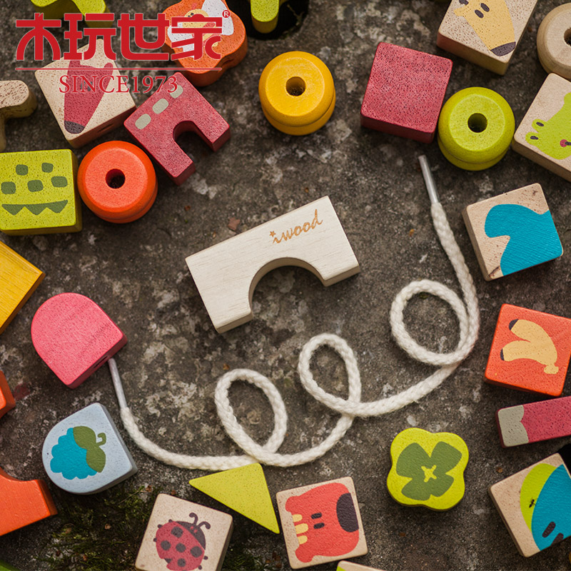 Wooden blocks wooden play family love wooden rope rope wear beaded beaded toys educational toys toy building blocks wooden animal story