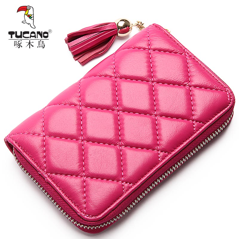 Woodpecker ms. wallet female long section 2016 new small fragrant wind quilted sheepskin leather zipper ms. purse