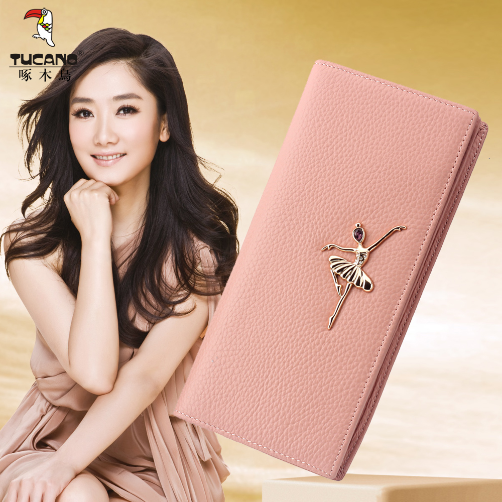 Woodpecker wallet female long section of ms. slim leather wallet japan and south korea in 2016 summer new leather women wallet