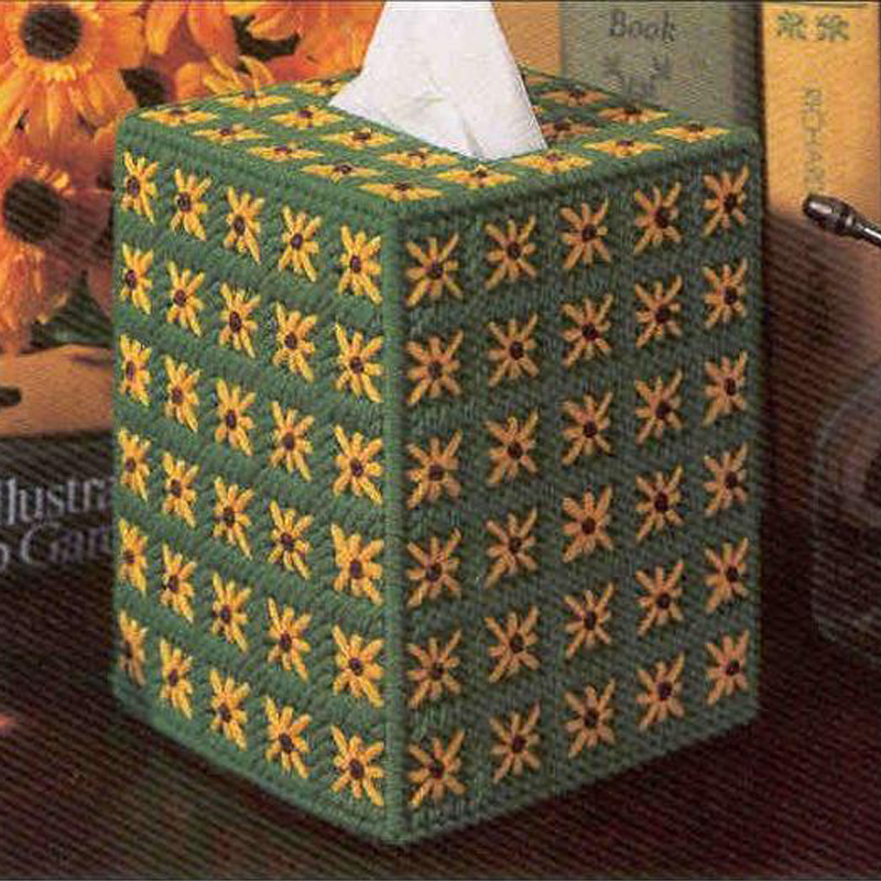 Wool embroidered three-dimensional three-dimensional embroidery stitch tissue box tissue box 068 sunflowers gift plus coarse lines suitable for novice