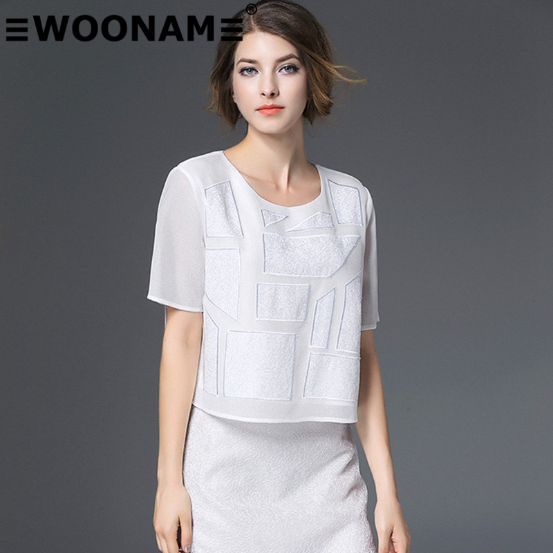 Woonam europe station 2016 summer new european and american fashion female crewel embroidery t-shirt skirt suit 80506