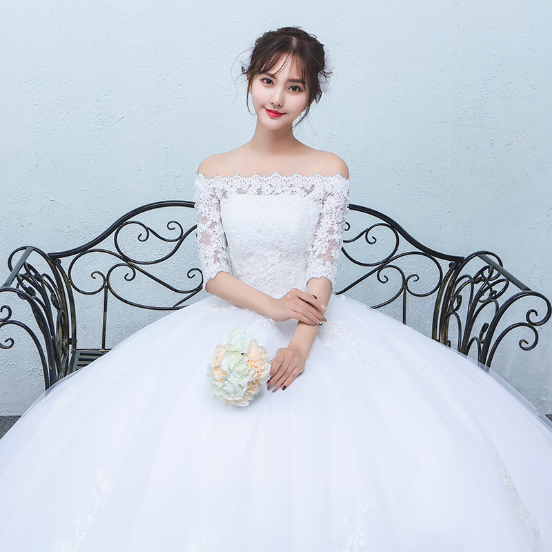 Word shoulder wedding dress 2016 autumn and winter new korean lace collar sleeve slim qi simple bridal white
