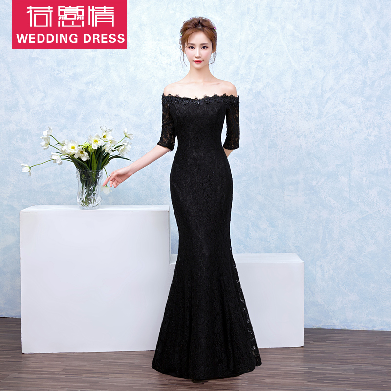 Word shoulder wedding dress 2016 winter new slim fishtail evening dress long section banquet black main holder performance dress skirt