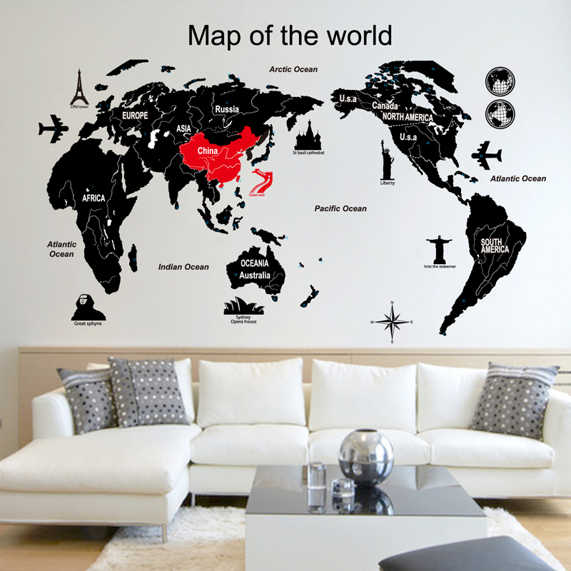 China world map wallpaper china world map wallpaper shopping guide world map wall sticker living room bedroom childrens room sofa background sticker waterproof adhesive removable wallpaper gumiabroncs Choice Image