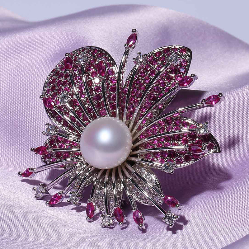 World run ruby jewelry genuine natural freshwater pearl brooch female 13mm centimetres nearly round glare