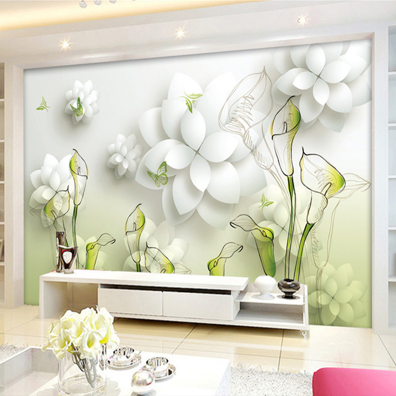 Wovens seamless wall covering wall covering european retro living room tv backdrop 3d stereoscopic wallpaper mural lily flower