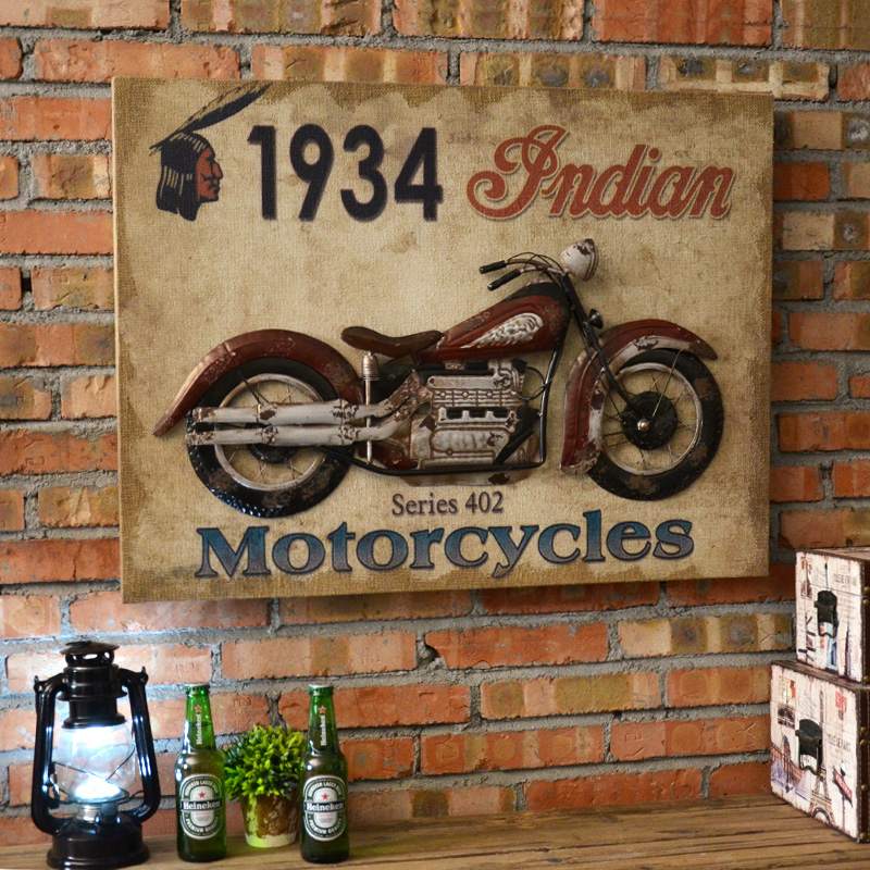 Wrought iron decorative wall murals retro nostalgia dimensional pendant creative shop cafe bar mural wall