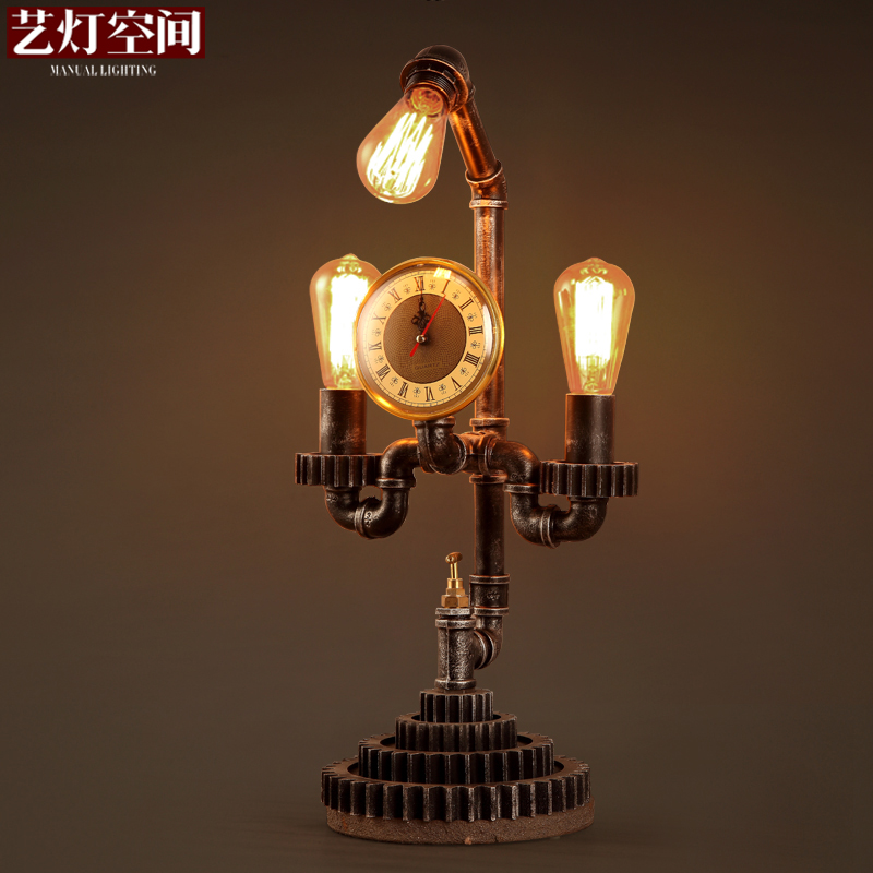 Wrought iron industry work table lamp creative personality living room dining room design table lamp table lamp loft pipes retro coffee shop