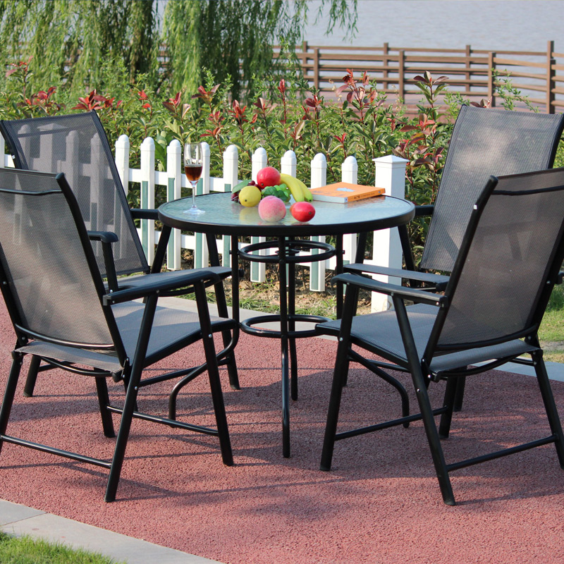 Wrought iron outdoor cafe tables and chairs combination of three wujiantao ting hospital balcony tables and chairs folding chairs outdoor leisure furniture