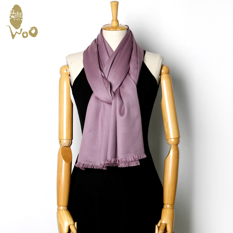Wu WOO63 % + 37% mulberry silk pashmina cashmere scarf shawl ms. solid pink rose color