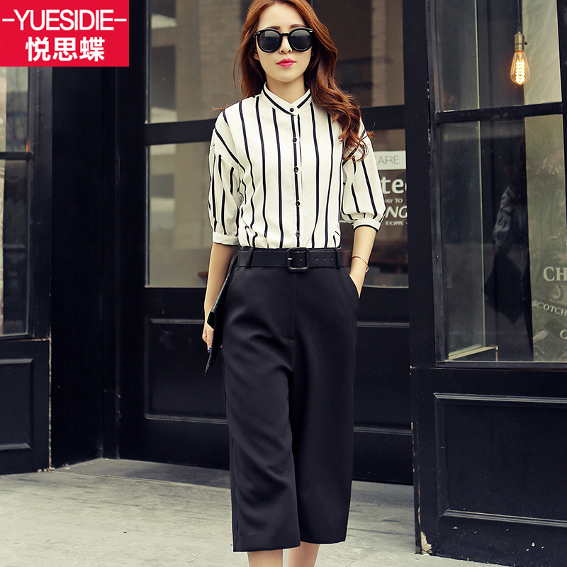 Wyatt thought skipperling wide leg pants suit summer female piece 2016 spring and summer women new suit korean version of slim waist suit