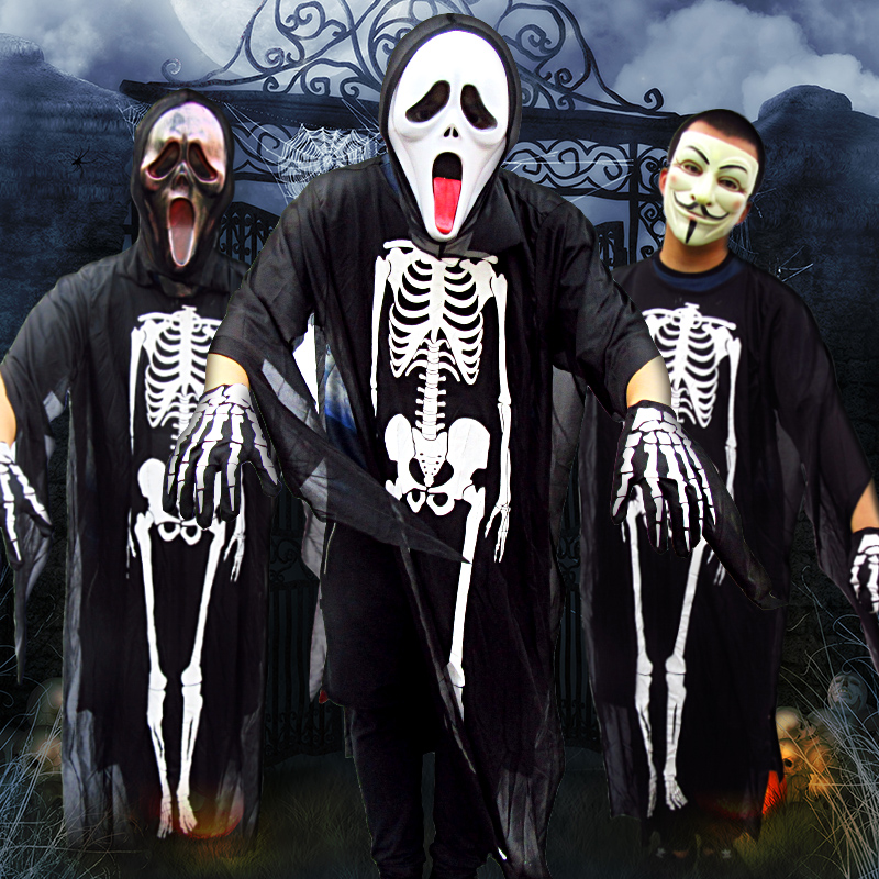 Xi bao halloween halloween costume mask adult children dress costumes funny road with skeleton ghost clothes cloak cloak clothing