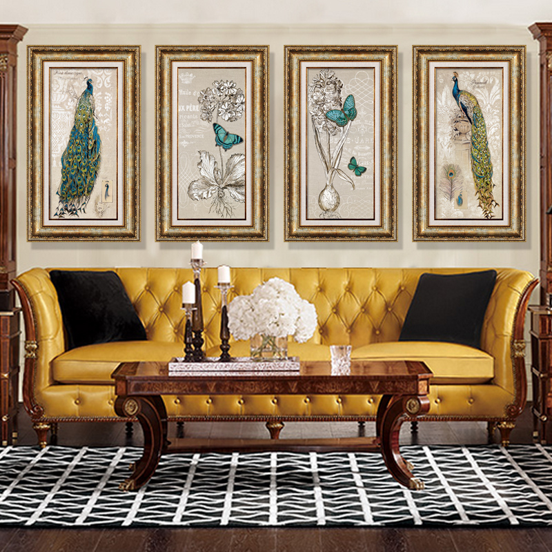 Xi shi modern minimalist decorative painting framed painting the living room den entrance mural paintings of european fashion peacock manor