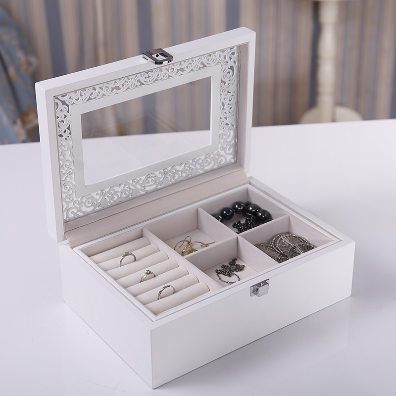 568a0c6f8 Get Quotations · Xiao jia jewelry box wooden jewelry storage box single  skylight stylish and practical wedding gift birthday