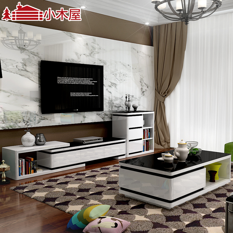 Xiaomuwu new furniture modern minimalist fashion paint the living room coffee table retractable tv cabinet tv cabinet portfolio