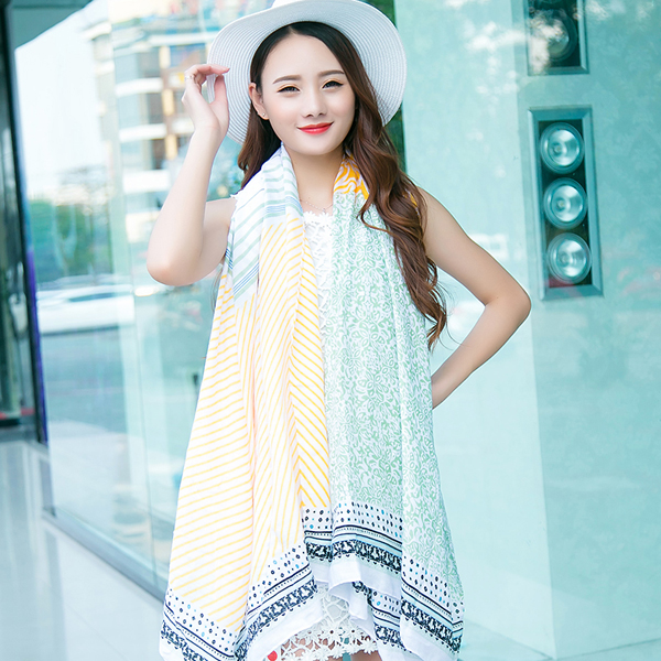Xiaoqing new spring and autumn travel wild printed cotton printed scarves ms. conditioned rooms shawl shawl longer