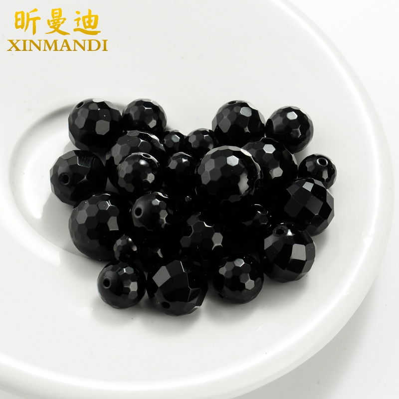 Xin mandy-4 ~ 14mm cutaway natural black agate beads loose beads spacer beads crystal bracelet diy accessories
