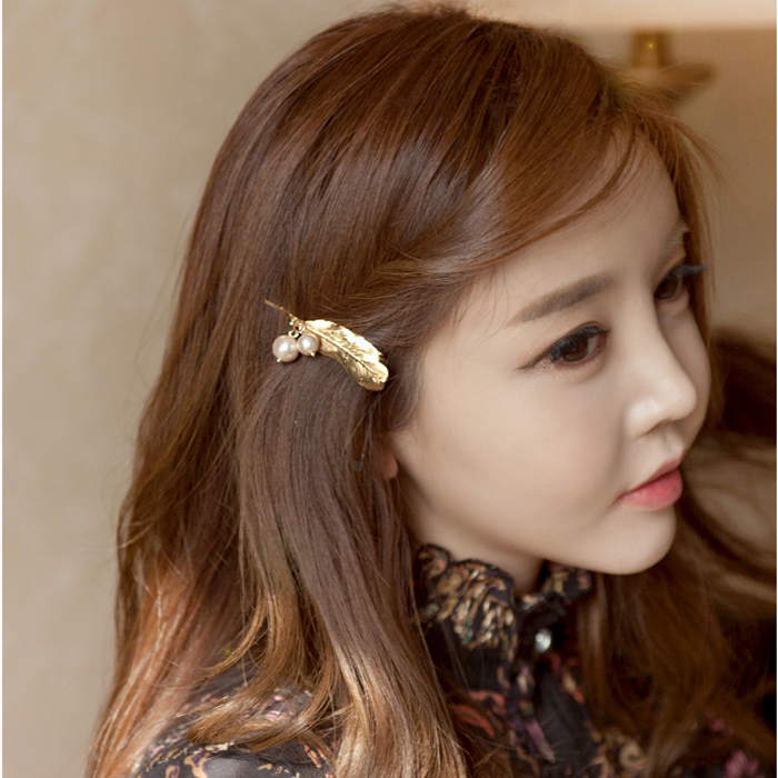Xin mei imitation pearl brooch korean feather headdress hair accessories hairpin side clip bangs clip
