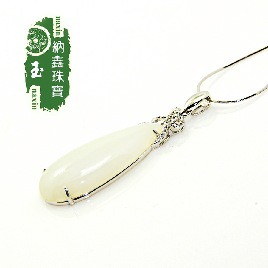 Xin satisfied jewelry and nephrite jade pendant fashion female models s925 silver inlaid jade green jade pendant large droplets necklace