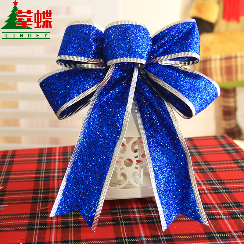 Xin skipperling blue ribbon bow christmas decorations christmas wreath hanging christmas ornaments christmas tree decoration props