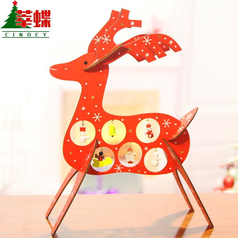 Xin skipperling desktop ornaments small christmas tree ornaments christmas deer checkstand new year decoration christmas new year gift
