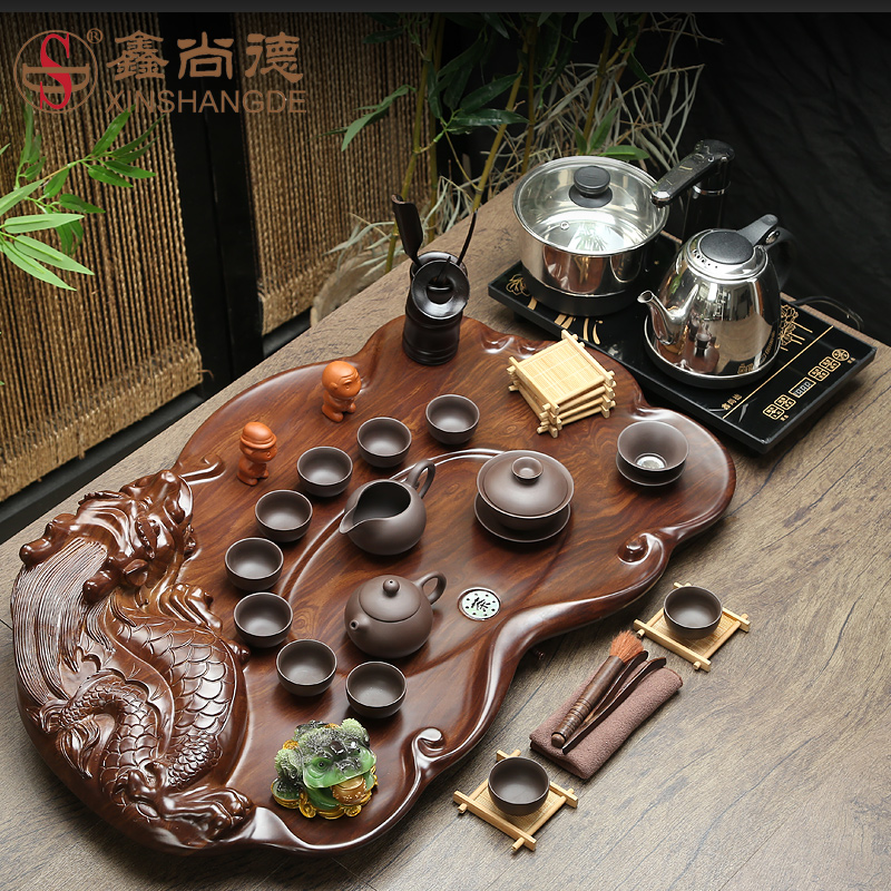 Xin suntech tea set special package binglie purple kung fu tea black stone tea tray cooker four