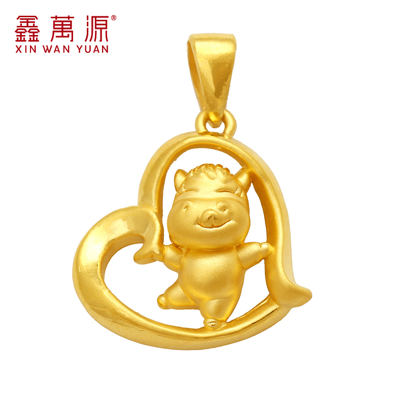 Xin wanyuan horse zodiac 3d hard gold jewelry gold pendant female models genuine gold jewelry k pure gold pendant