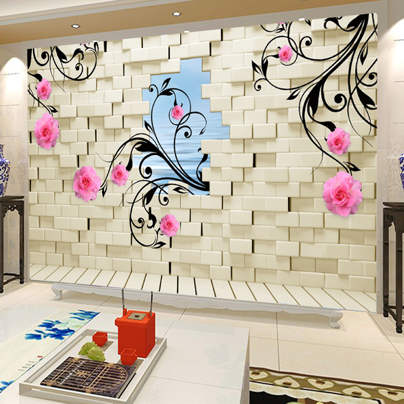 Xin ya 3d roses wallpaper mural wallpaper white brick wall living room tv backdrop of large seamless mural wall covering