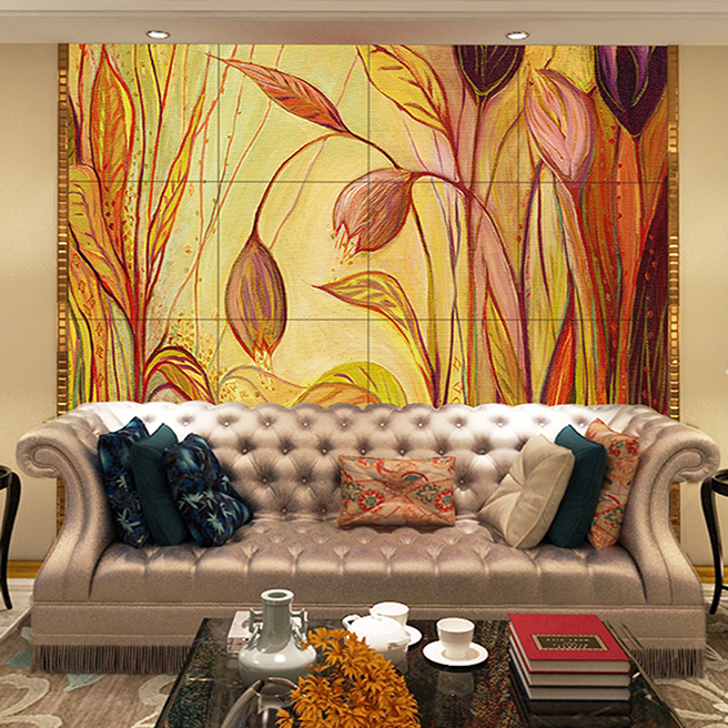 Xin ya modern minimalist abstract floral painting the living room sofa tile backdrop tv background wall tiles wall tiles