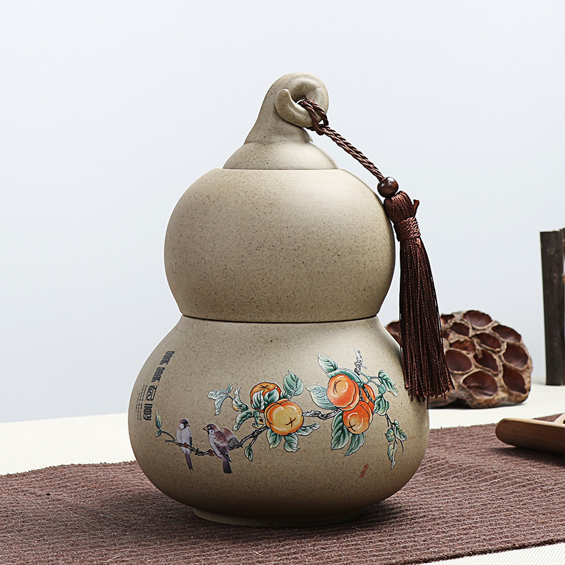 Xin yi margin of storage canopic jars sealed cans and old rock mud stoneware ceramic tea box tea caddy large