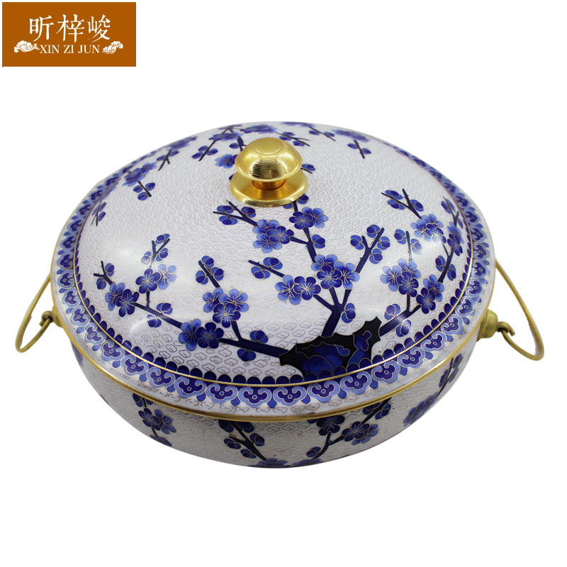 Xin zi finishing 32CM cloisonn plum copper thick pure copper copper pot charcoal fire boilers fashioned charcoal copper pot