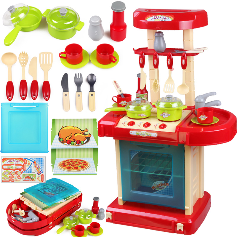 Xiongcheng children play house playsets baby simulation kitchen utensils to cook meals with a combination of boys and girls