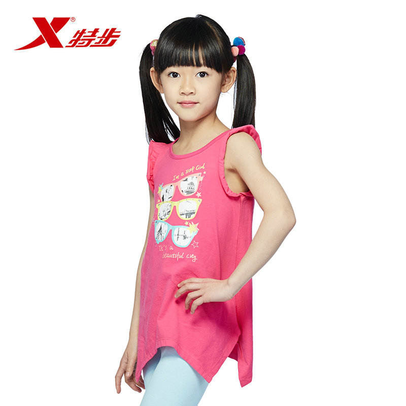 Xtep brand children's clothing girls childrenwear 2015 summer new cotton sleeveless vest korean