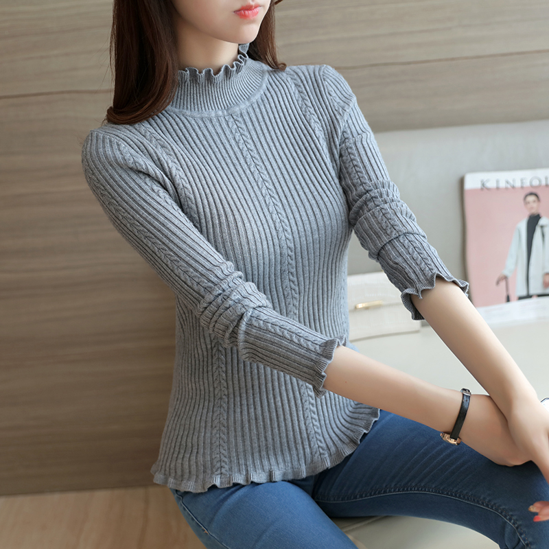 Xuan xuan color knit pullover sweater 2016 autumn new korean version of the leaf edges wild slim coat solid color women