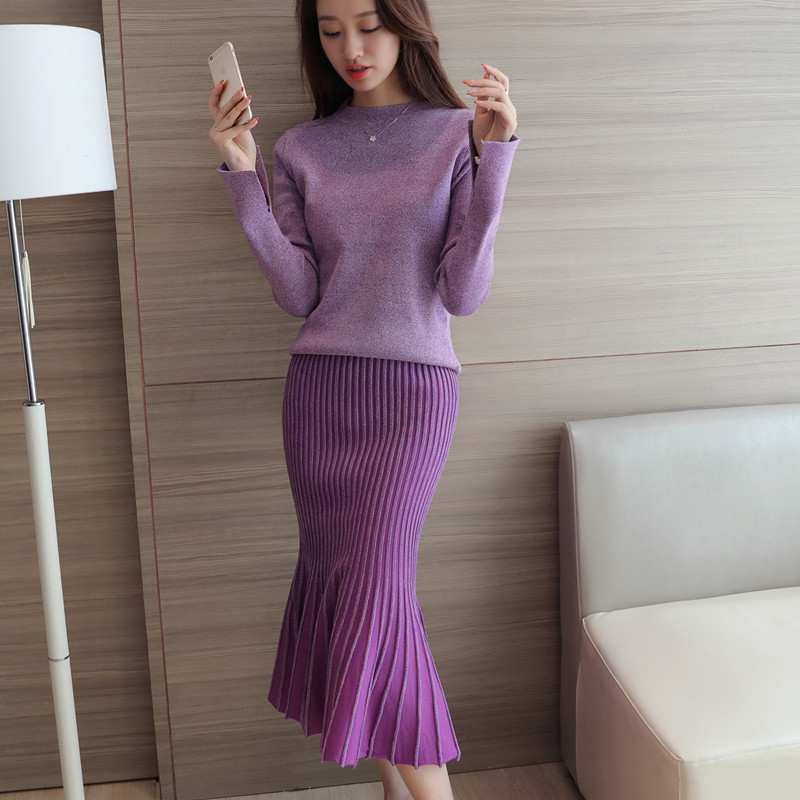 Xuan xuan color sweater knit sweater suit 2016 autumn new korean women wild in the long section fishtail skirt slim