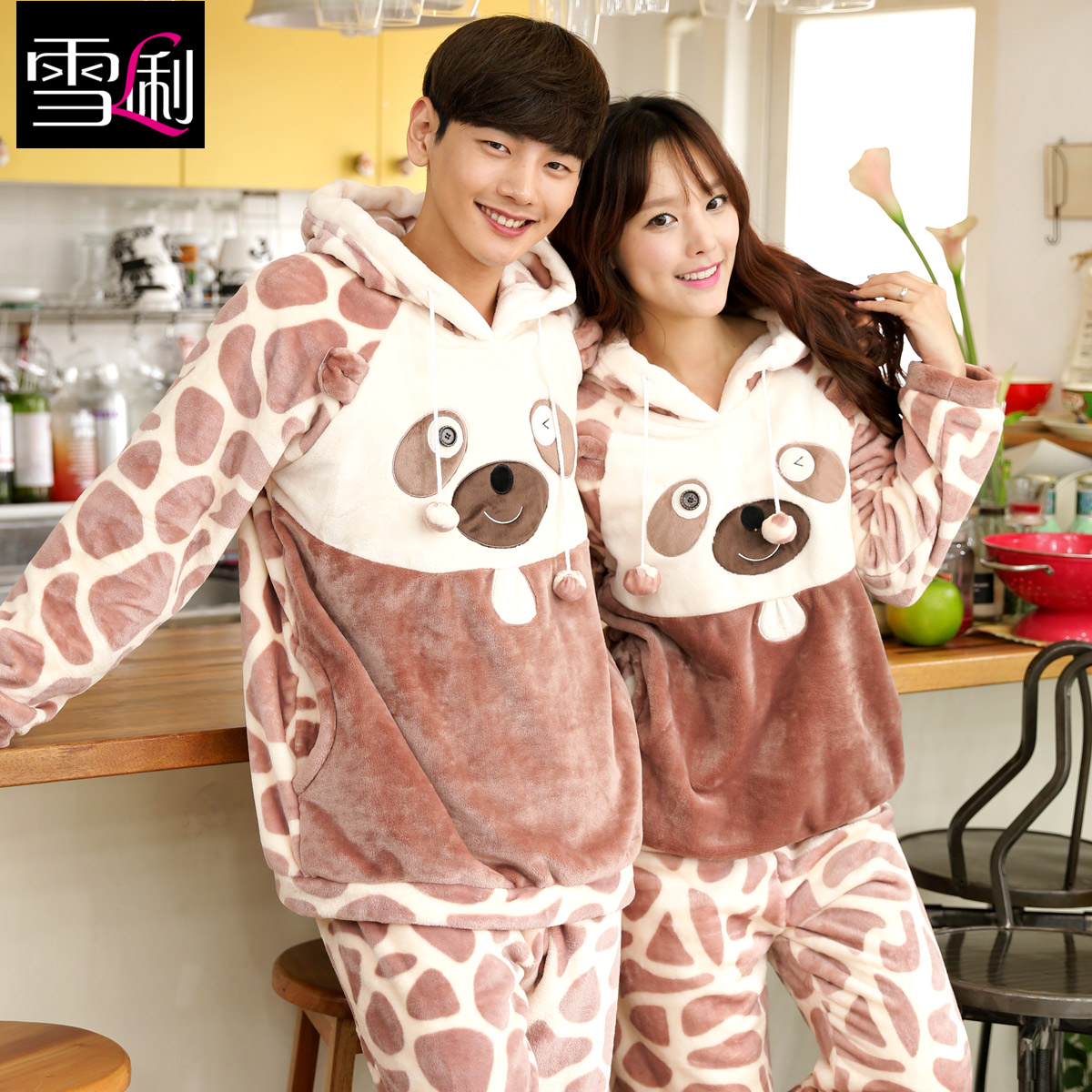 Xue li new korean version of the fall and winter coral fleece long sleeve flannel suit cartoon couple pajamas home service men and women with disabilities