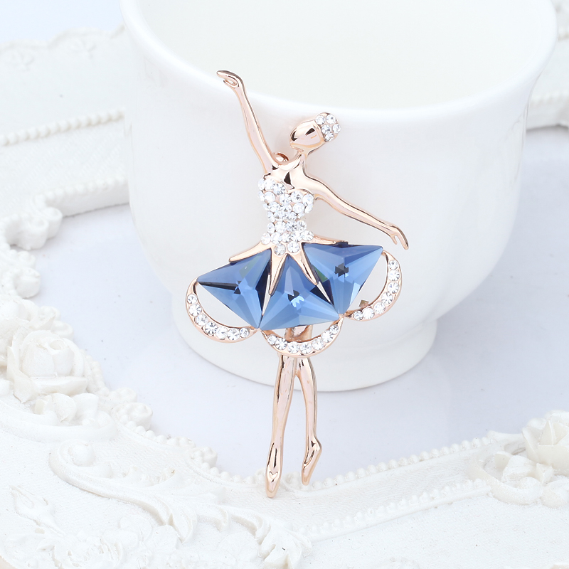 Ya bao/albemarle crystal ballet girl brooch flower brooch pin buckle wild fashion korean rhinestone chest female x_1