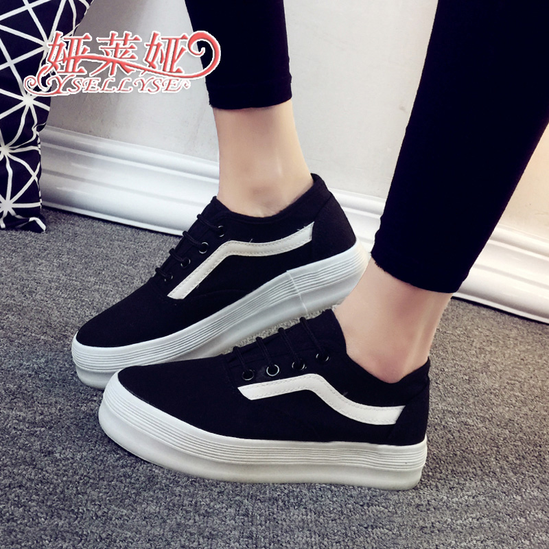 Ya laiya new simple spell color canvas shoes women shoes tide thick crust muffin with korean version of college wind lace shoes