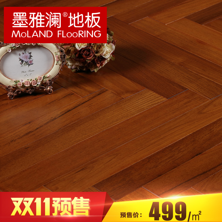 Ya lan ink tens of thousands of pomelo random spell pure burmese teak wood flooring herringbone flooring 18mm 80 years of quality
