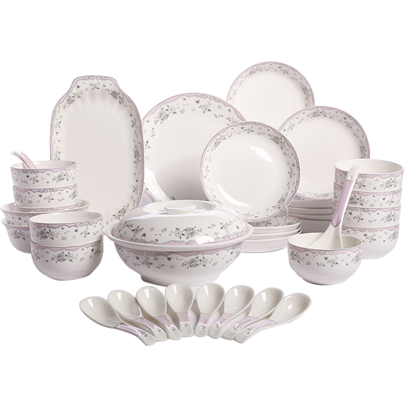 Ya tak 36 platinum crystal tableware suit dish dishes suit chinese new bone china tableware porcelain ceramic household