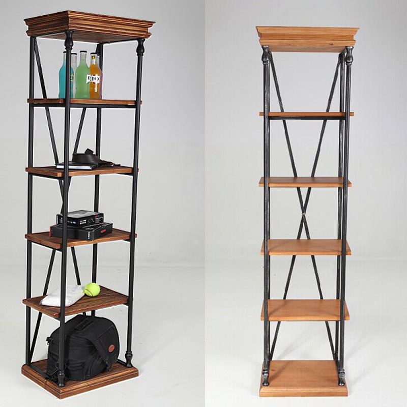 Get Quotations · Ya Zhu Vintage Wrought Iron Shelving Storage Layer  Separator Corner Cabinet Shelf Storage Rack Simple Living