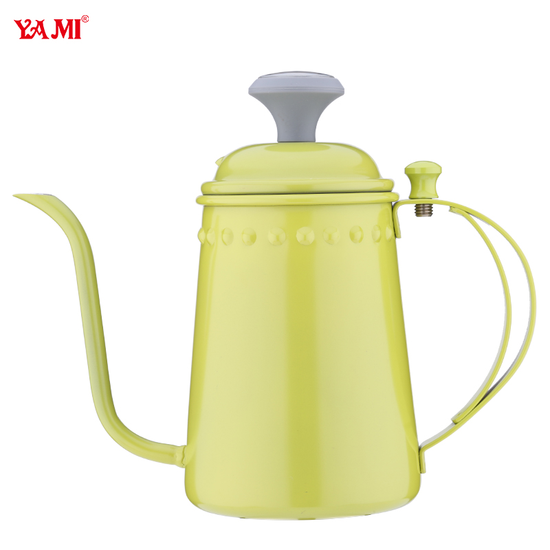 Yami color long beak hand punch coffee household type 304 stainless steel hand punch fine mouth pot coffee pot With a thermometer