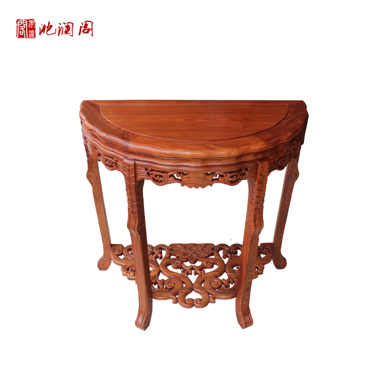 Yan lan club african rosewood mahogany 0.8 m half round table/console tables semicircular desk chinese wood/entrance