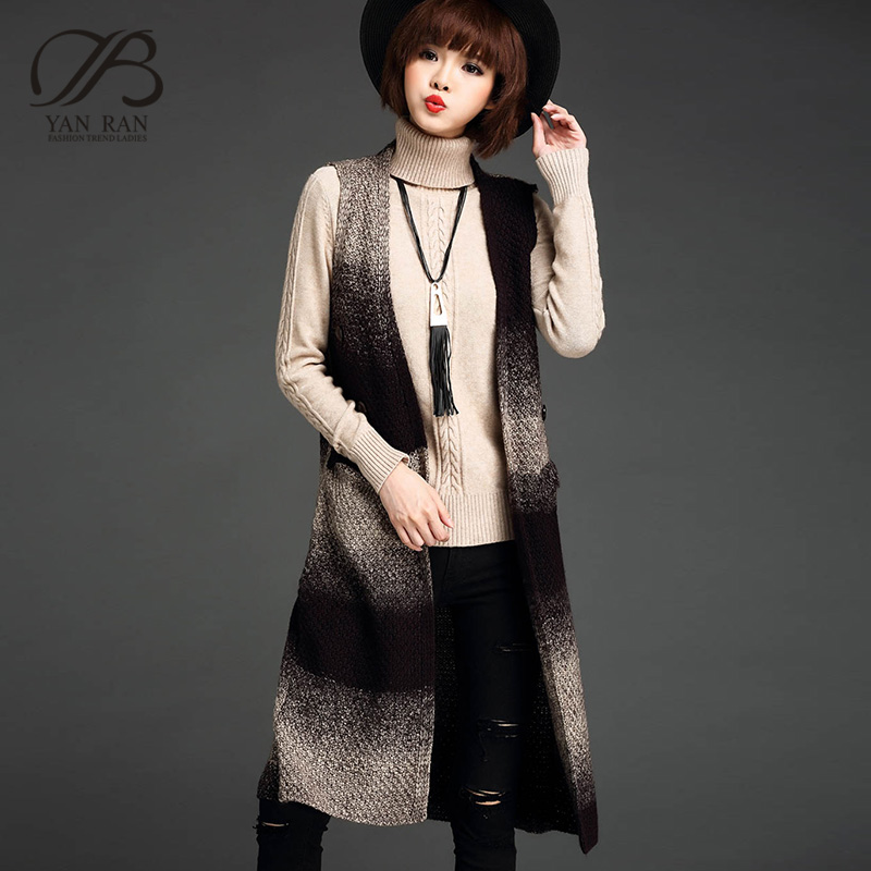 Yan ran dongkuan thick sweater coat female long section of loose knit vest outside the ride cardigan draped shoulder sleeveless tide
