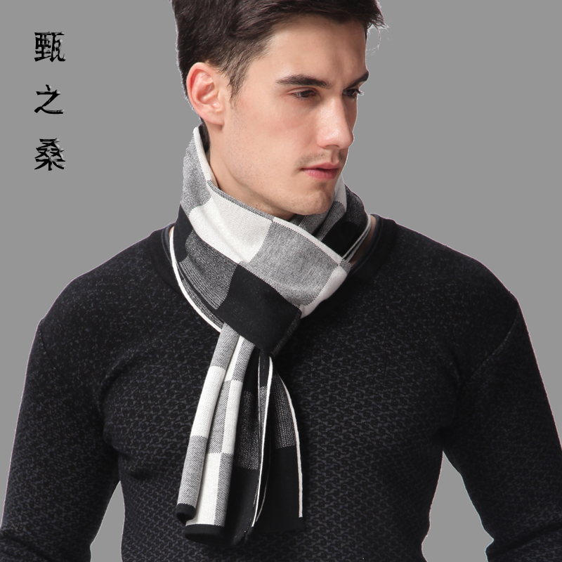 Yan sang 2015 new winter men's wool scarf upscale korean version of the thick warm plaid scarf gift box