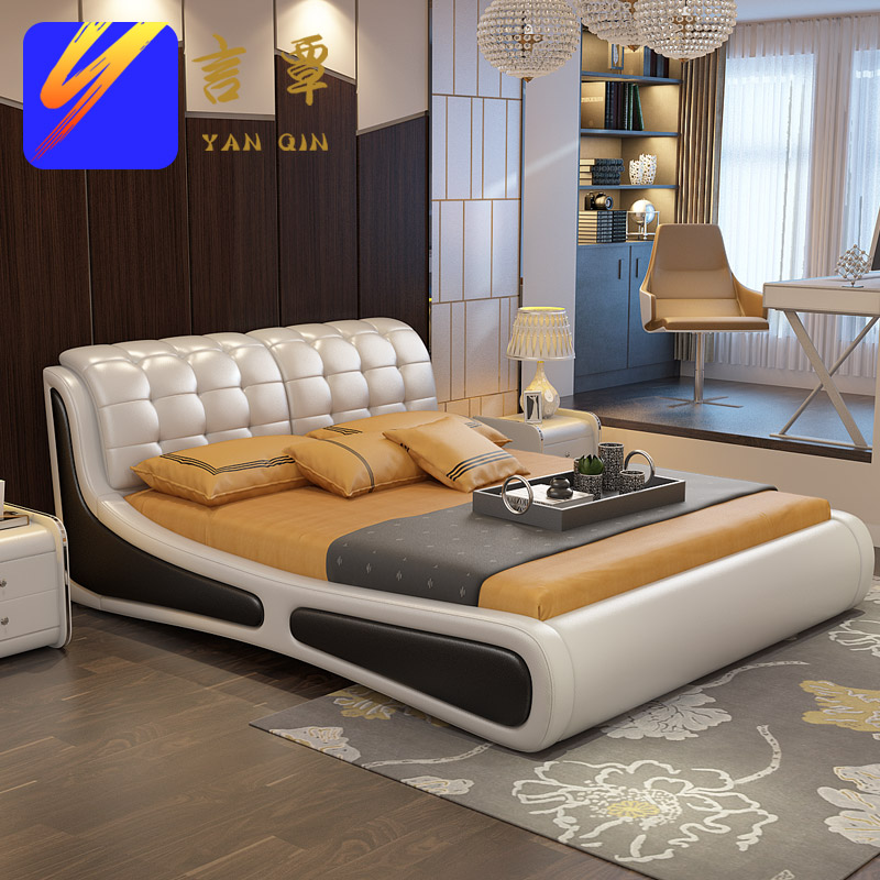 Yan tan leather bed double bed soft leather bed leather bed leather bed 1.8 m marriage bed delivery and installation