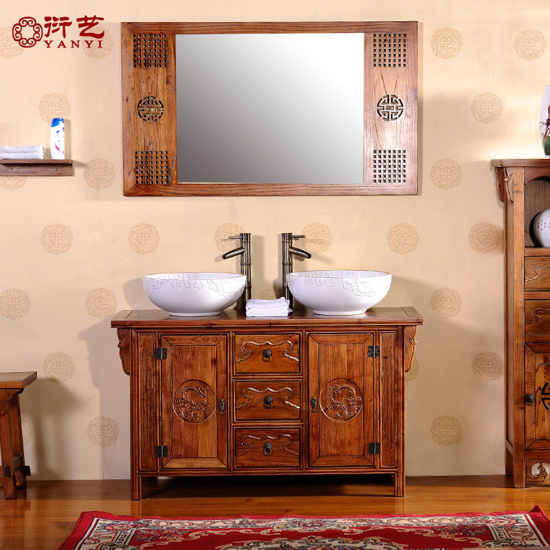 Yan yi chinese solid wood antique bathroom cabinets double basin floor pastoral bathroom cabinet bathroom counter basin combination bathroom vanity cabinet