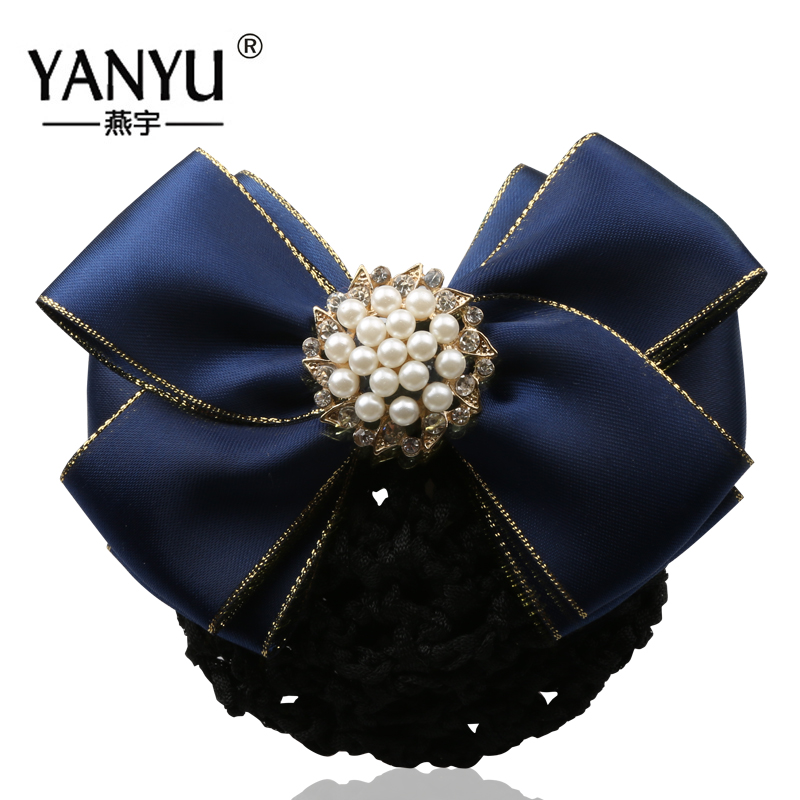 Yan yu employees bow pearl flower head headdress hair accessories wholesale korean stewardess career wangdou headdress w0-waist 032